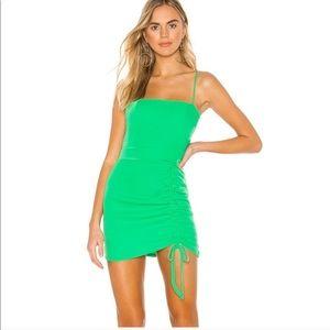 Superdown green square neck sleeveless dress
